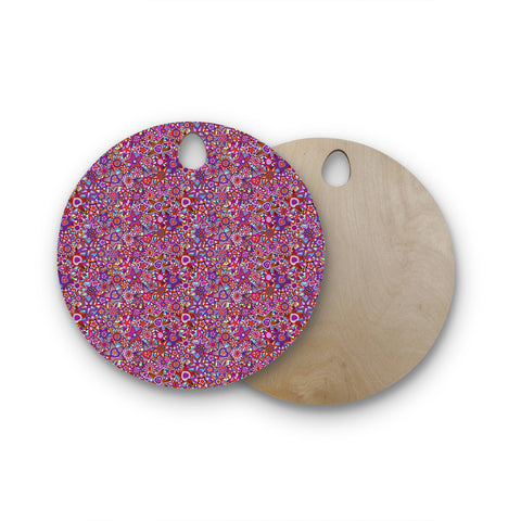"Julia Grifol ""My Dreams in Color"" Pink Stars Round Wooden Cutting Board"