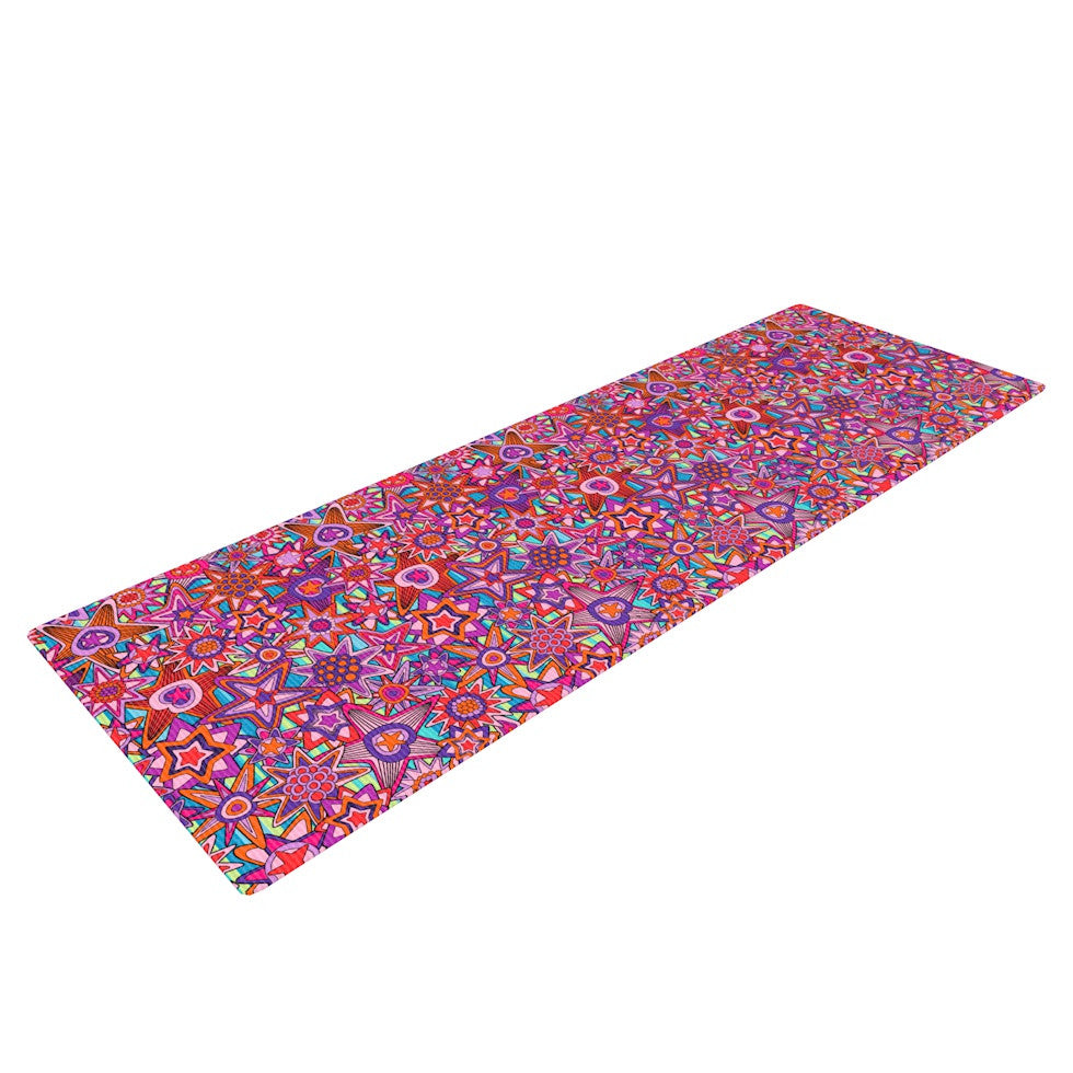 "Julia Grifol ""My Dreams in Color"" Pink Stars Yoga Mat - KESS InHouse  - 1"