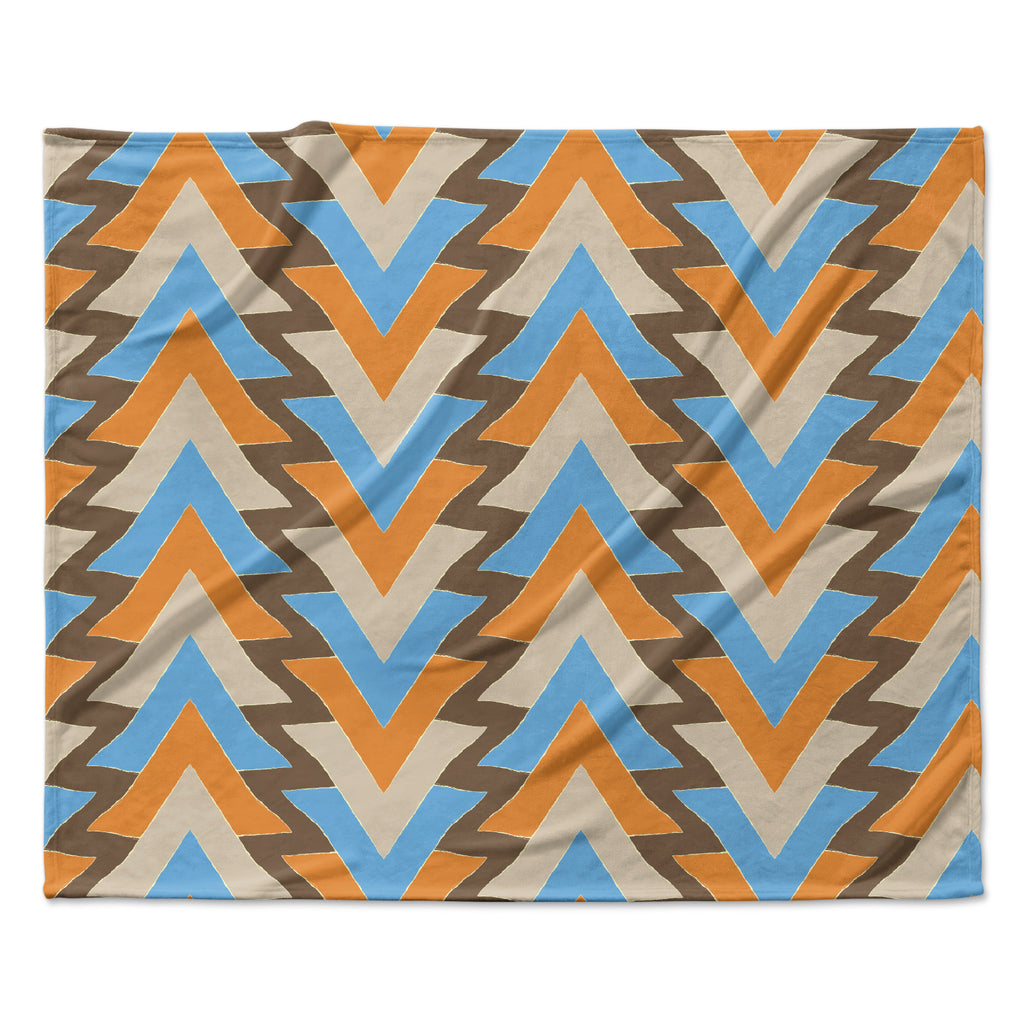 "Julia Grifol ""My Triangles in Blue"" Aqua Orange Fleece Throw Blanket"