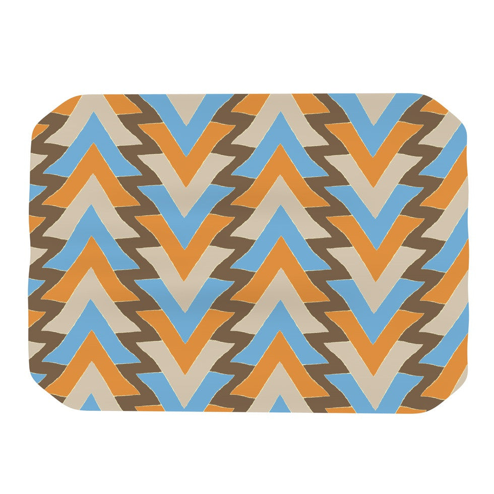 "Julia Grifol ""My Triangles in Blue"" Aqua Orange Place Mat - KESS InHouse"