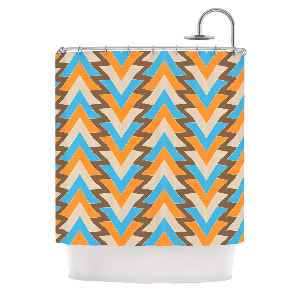 "Julia Grifol ""My Triangles in Blue"" Aqua Orange Shower Curtain - KESS InHouse"