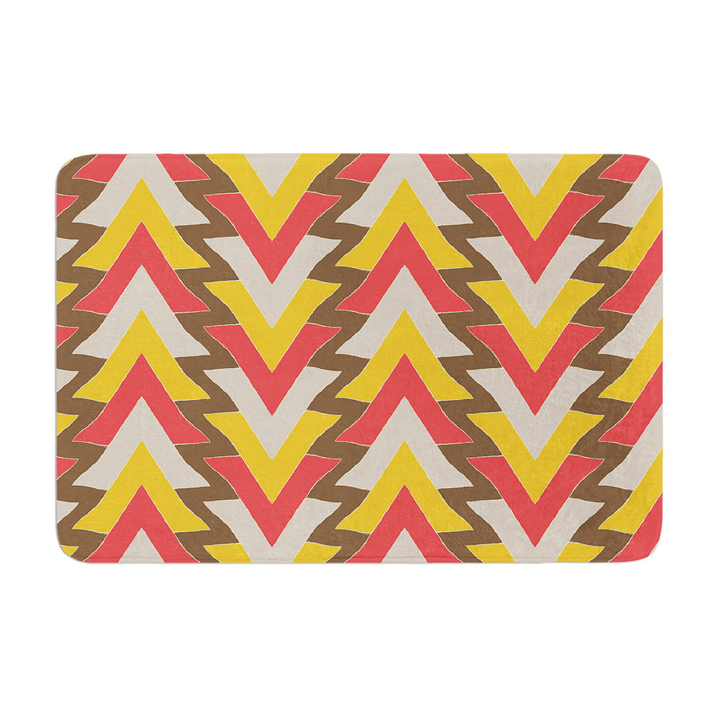 "Julia Grifol ""My Triangles in Red"" Orange Brown Memory Foam Bath Mat - KESS InHouse"