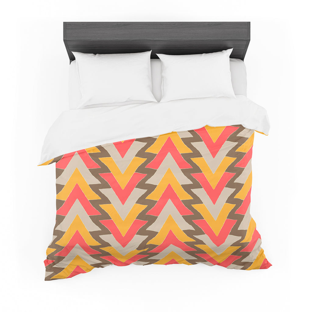 "Julia Grifol ""My Triangles in Red"" Orange Brown Featherweight Duvet Cover"