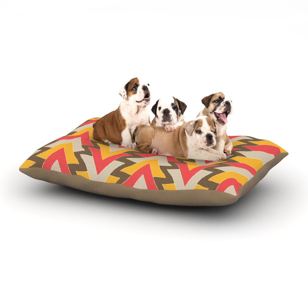 "Julia Grifol ""My Triangles in Red"" Orange Brown Dog Bed - KESS InHouse  - 1"