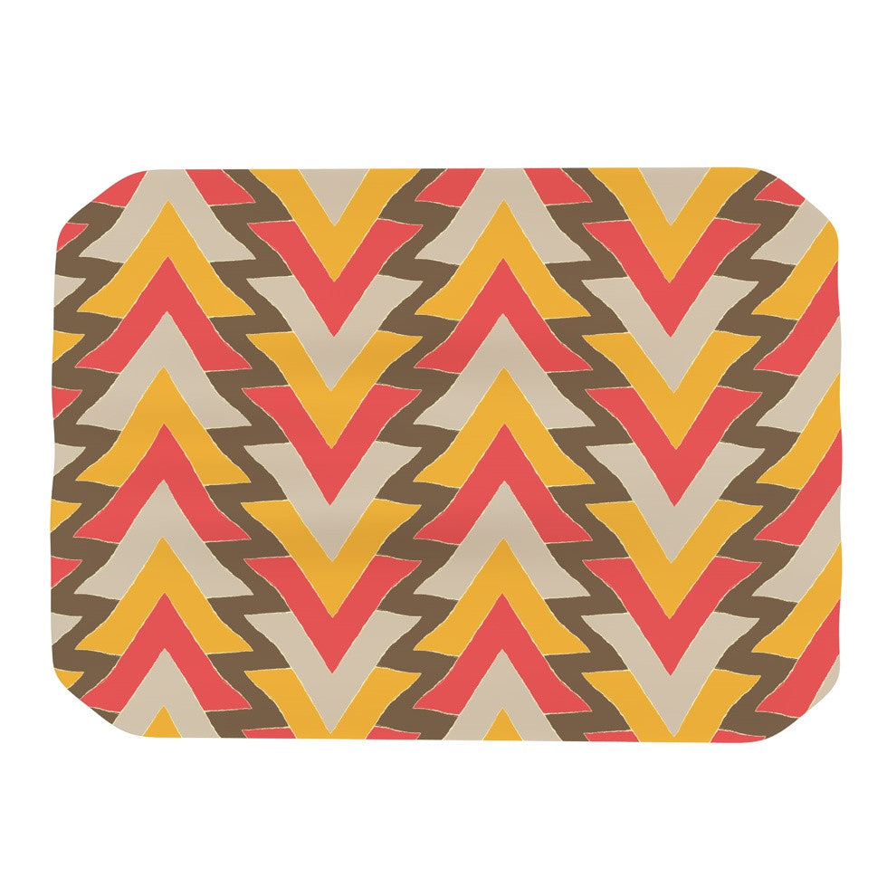 "Julia Grifol ""My Triangles in Red"" Orange Brown Place Mat - KESS InHouse"