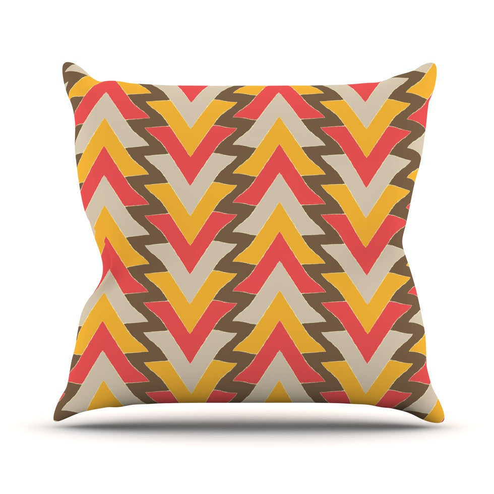 "Julia Grifol ""My Triangles in Red"" Orange Brown Outdoor Throw Pillow - KESS InHouse  - 1"