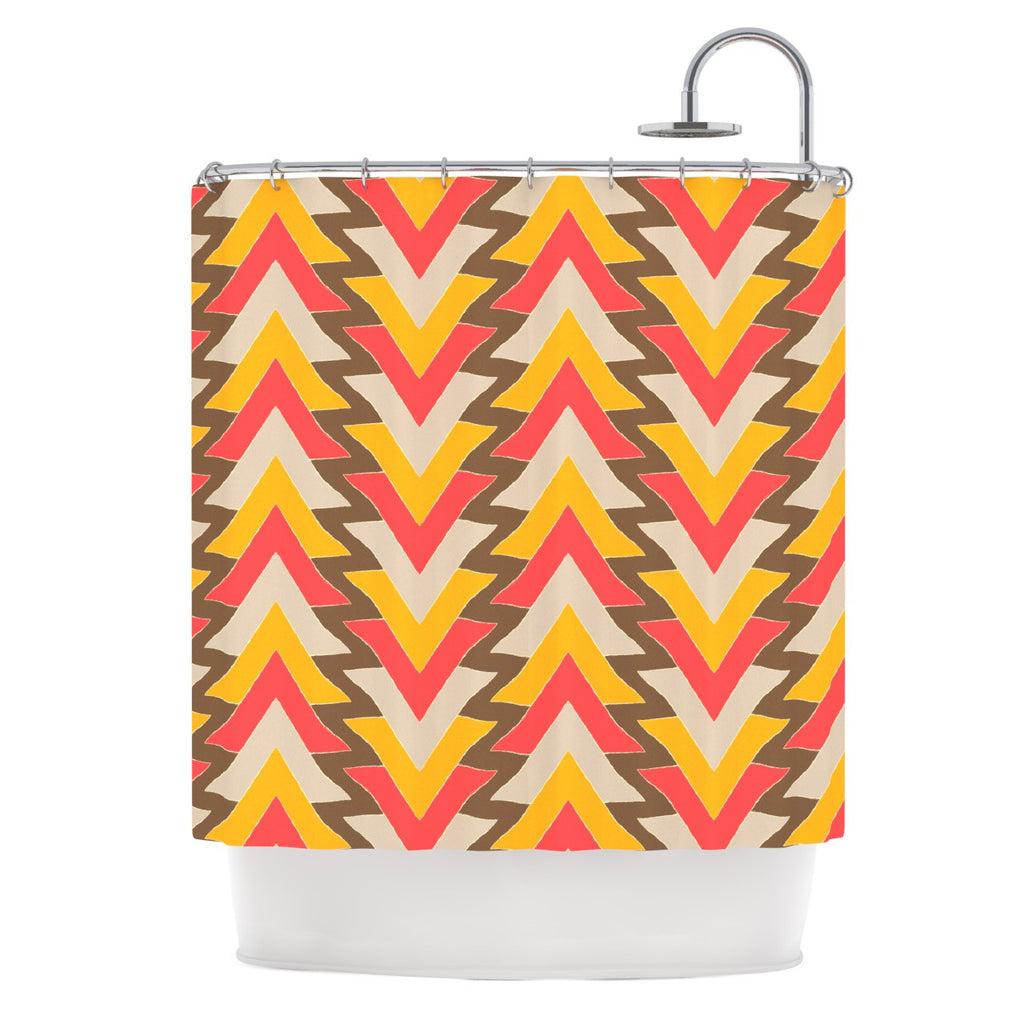 "Julia Grifol ""My Triangles in Red"" Orange Brown Shower Curtain - KESS InHouse"