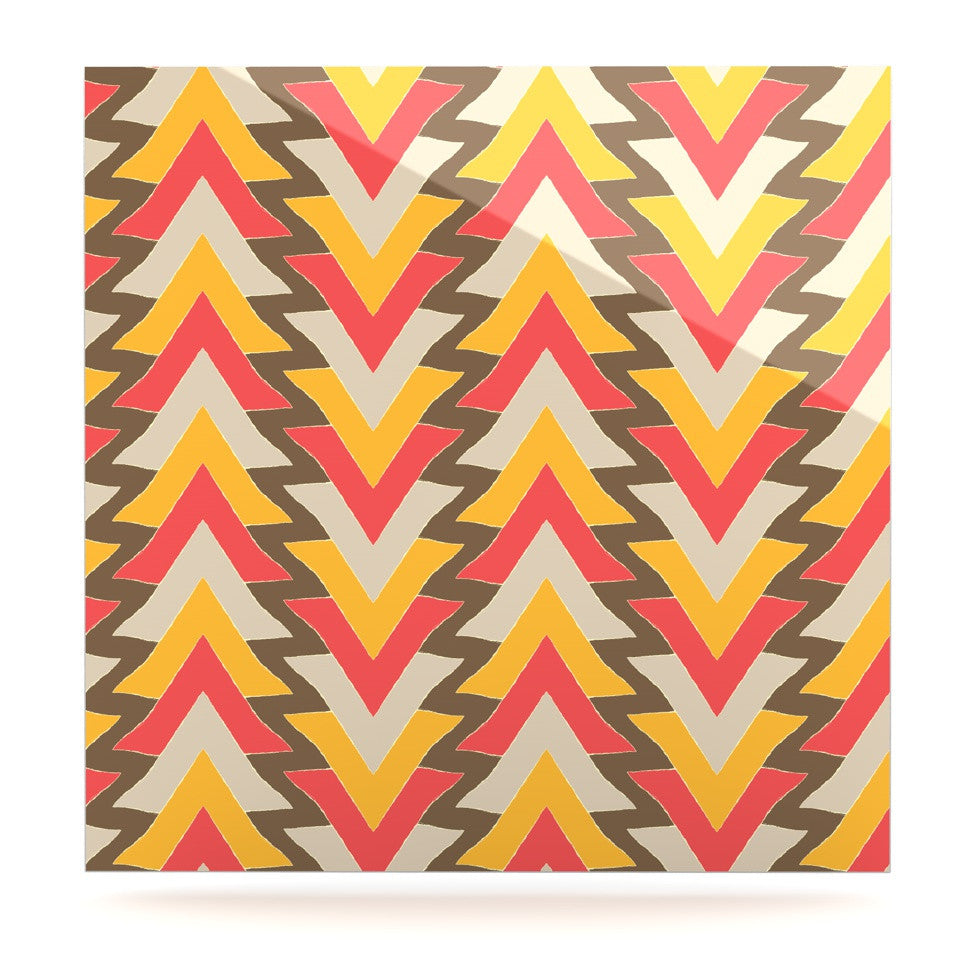 "Julia Grifol ""My Triangles in Red"" Orange Brown Luxe Square Panel - KESS InHouse  - 1"