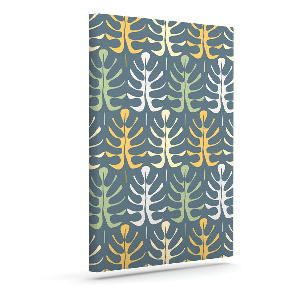 "Julia Grifol ""My Leaves on Blue"" Outdoor Canvas Wall Art - KESS InHouse  - 1"