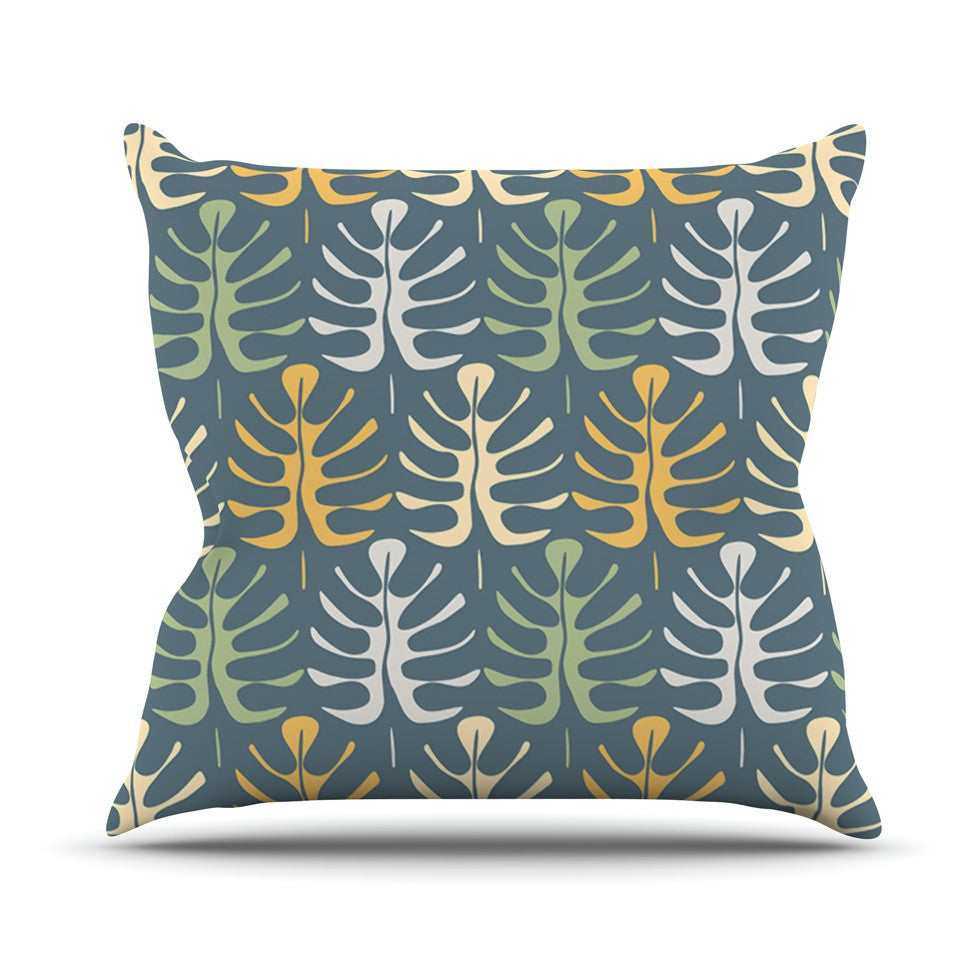 "Julia Grifol ""My Leaves on Blue"" Outdoor Throw Pillow - KESS InHouse  - 1"