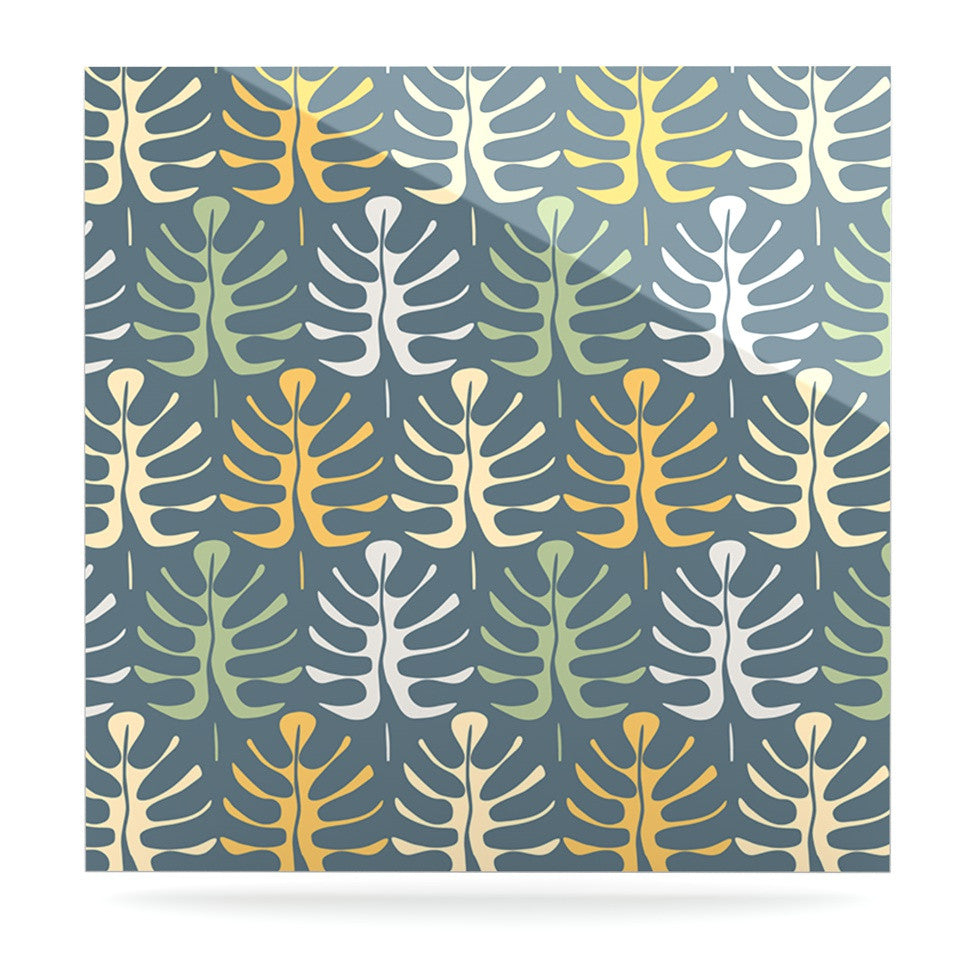 "Julia Grifol ""My Leaves on Blue"" Luxe Square Panel - KESS InHouse  - 1"