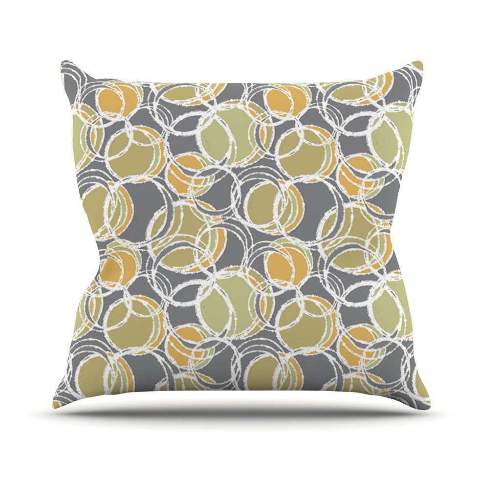 "Julia Grifol ""Simple Circles in Grey"" Outdoor Throw Pillow - KESS InHouse  - 1"