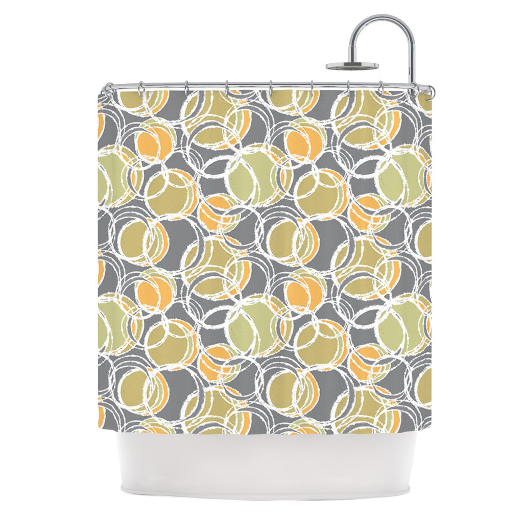 "Julia Grifol ""Simple Circles in Grey"" Shower Curtain - KESS InHouse"