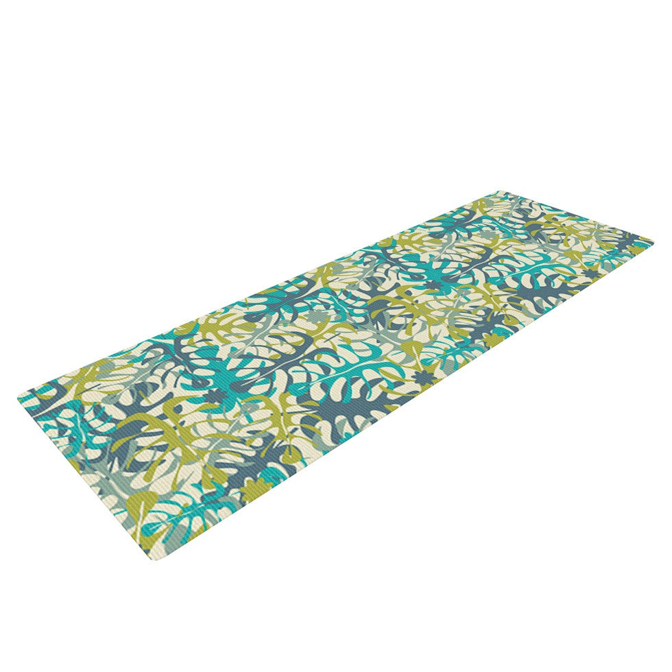 "Julia Grifol ""Tropical Leaves"" Yoga Mat - KESS InHouse  - 1"