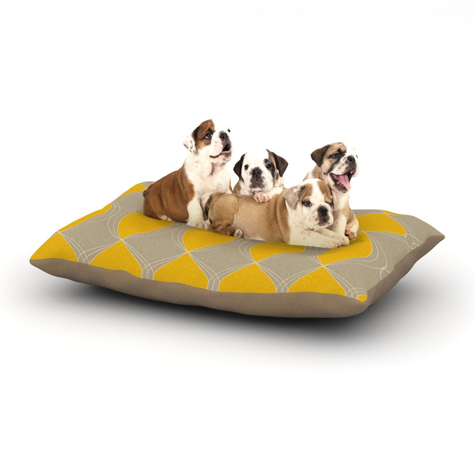 "Julia Grifol ""Geometries in Yellow"" Dog Bed - KESS InHouse  - 1"