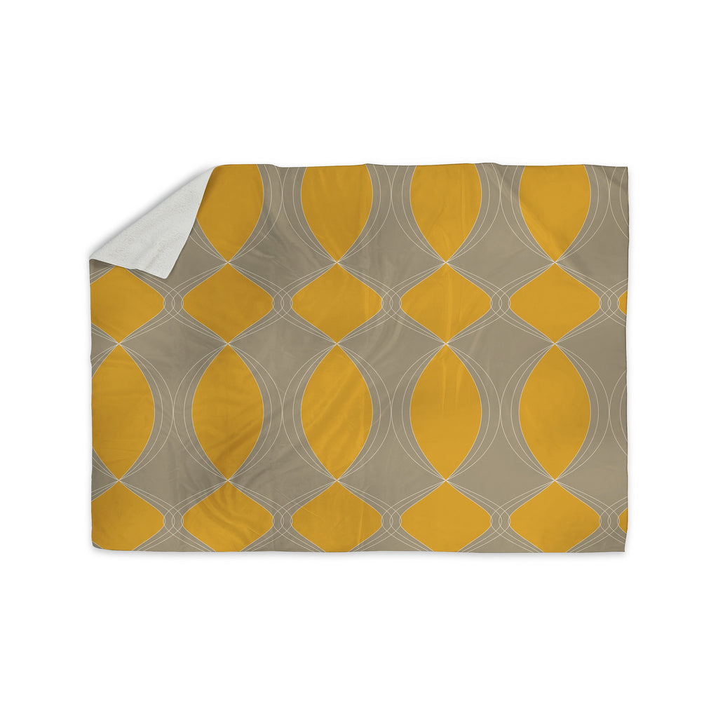 "Julia Grifol ""Geometries in Yellow"" Sherpa Blanket - KESS InHouse  - 1"