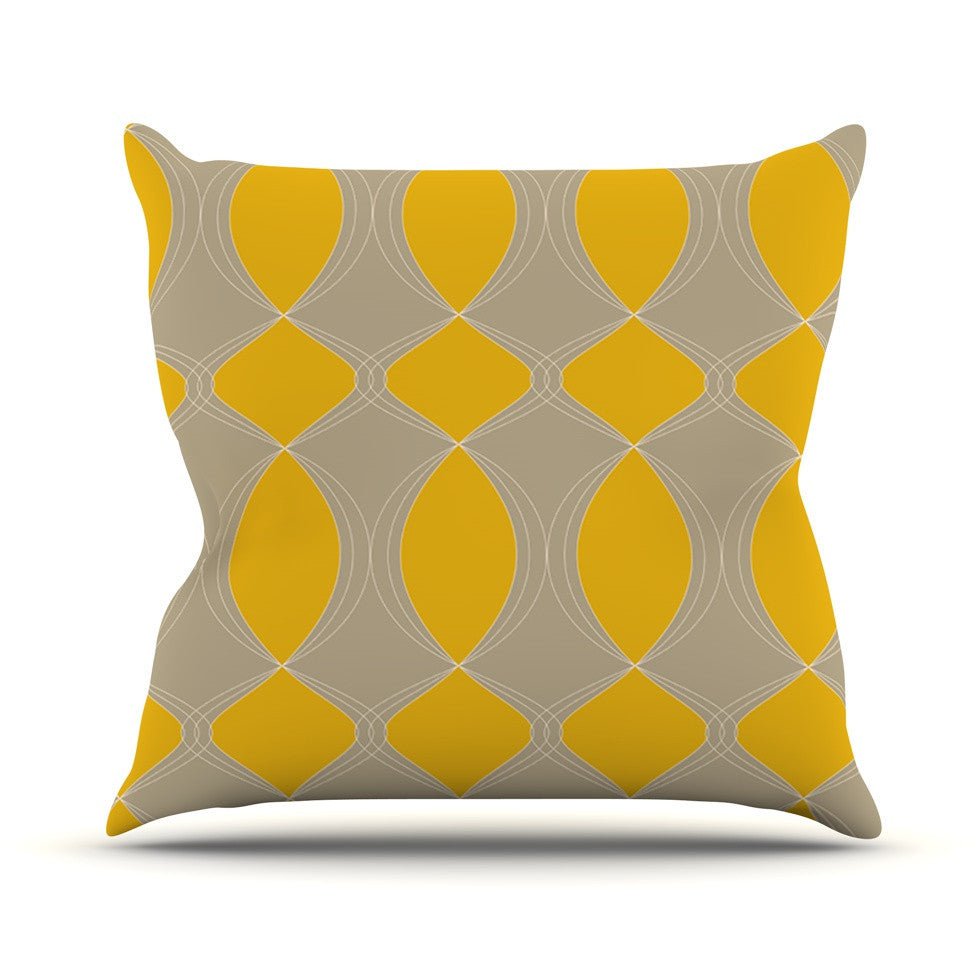 "Julia Grifol ""Geometries in Yellow"" Outdoor Throw Pillow - KESS InHouse  - 1"