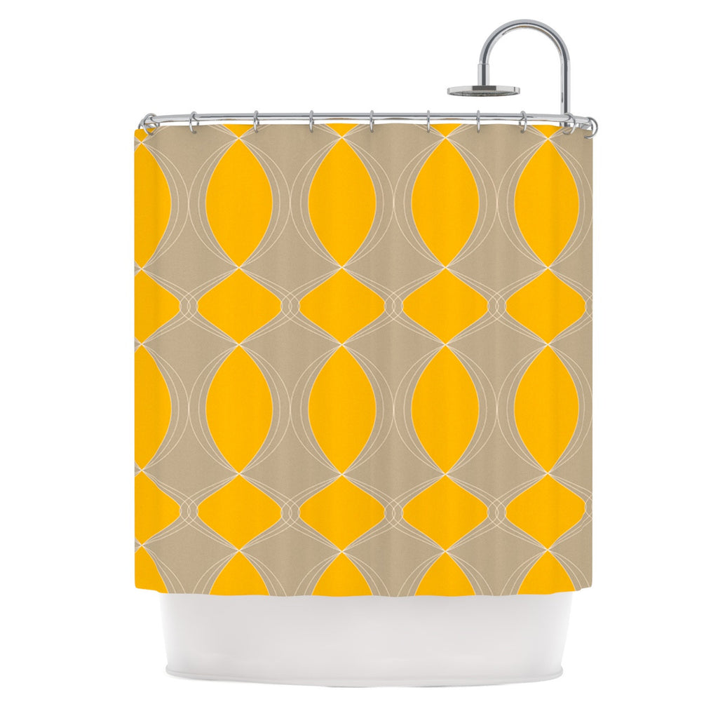 "Julia Grifol ""Geometries in Yellow"" Shower Curtain - KESS InHouse"