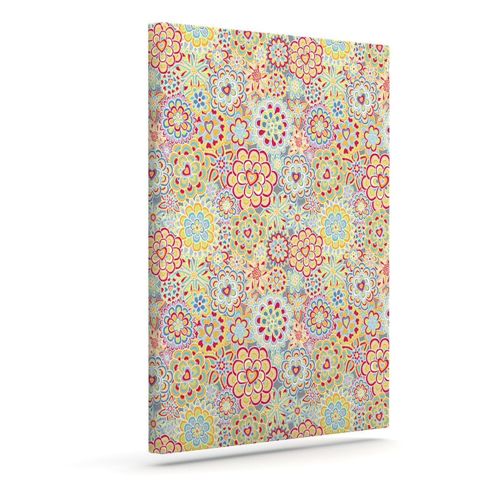 "Julia Grifol ""My Happy Flowers in Red"" Outdoor Canvas Wall Art - KESS InHouse  - 1"