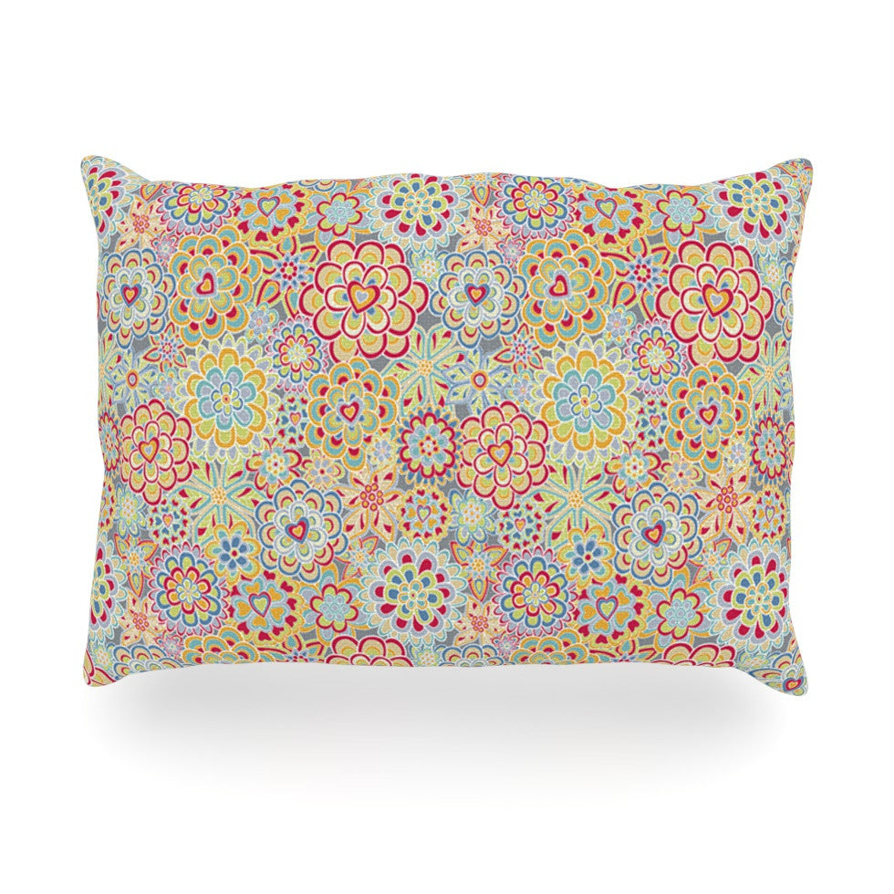 "Julia Grifol ""My Happy Flowers in Red"" Oblong Pillow - KESS InHouse"