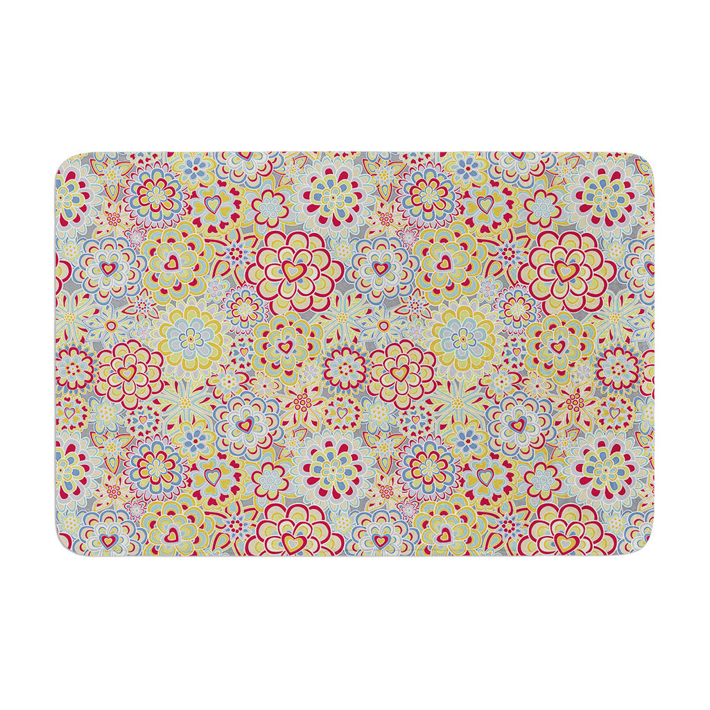 "Julia Grifol ""My Happy Flowers in Red"" Memory Foam Bath Mat - KESS InHouse"
