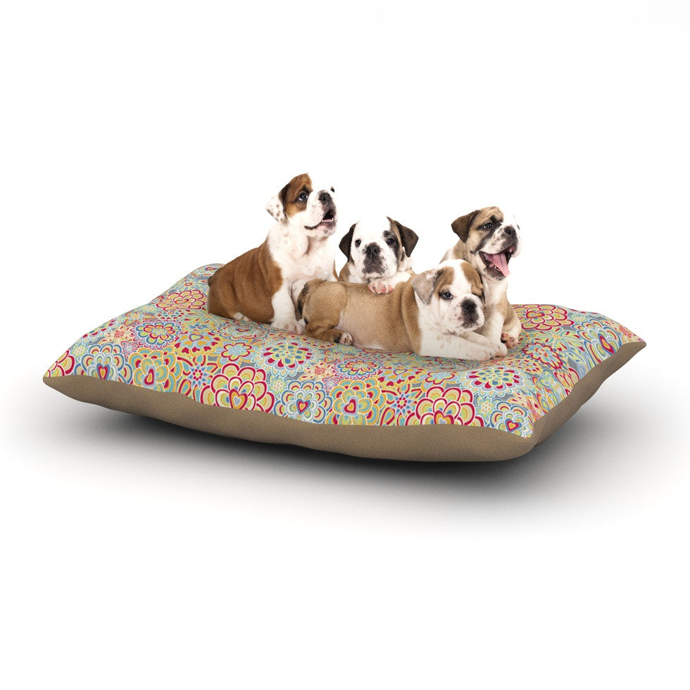 "Julia Grifol ""My Happy Flowers in Red"" Dog Bed - KESS InHouse  - 1"
