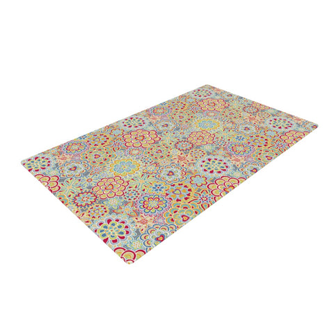 "julia grifol ""My Happy Flowers in Red""  Woven Area Rug - Outlet Item"