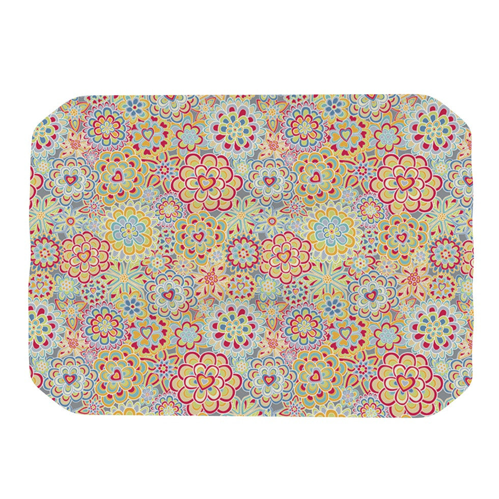 "Julia Grifol ""My Happy Flowers in Red"" Place Mat - KESS InHouse"