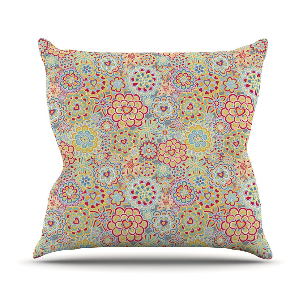 "Julia Grifol ""My Happy Flowers in Red"" Outdoor Throw Pillow - KESS InHouse  - 1"