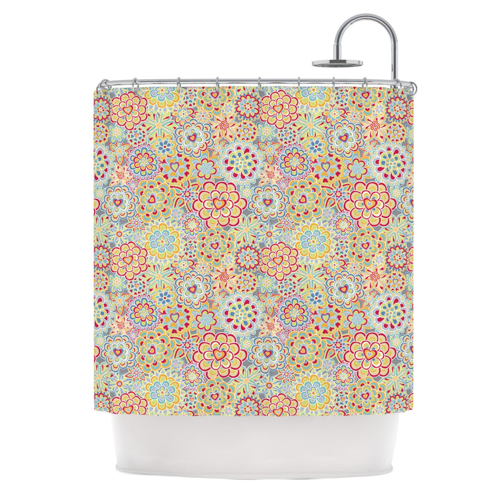 "Julia Grifol ""My Happy Flowers in Red"" Shower Curtain - KESS InHouse"