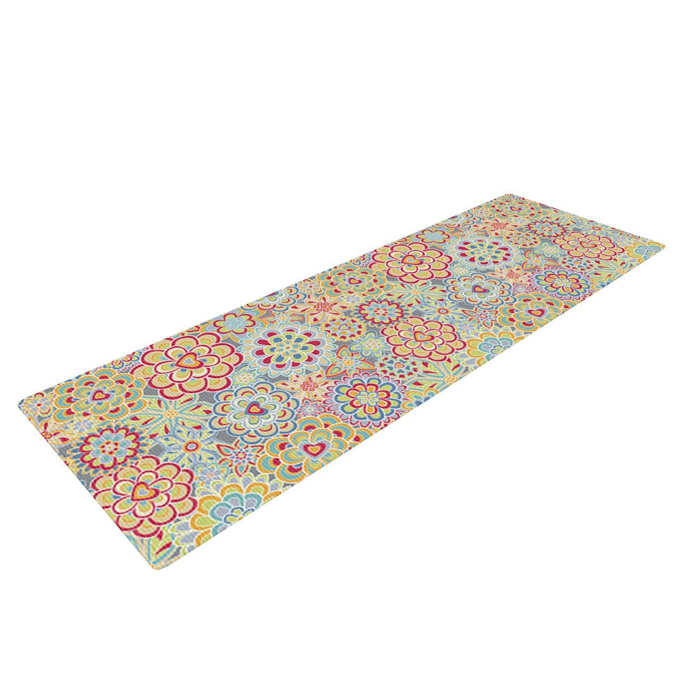 "Julia Grifol ""My Happy Flowers in Red"" Yoga Mat - KESS InHouse  - 1"