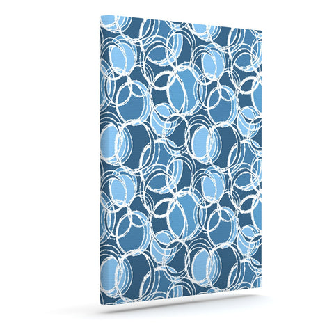 "Julia Grifol ""Simple Circles in Blue"" Outdoor Canvas Wall Art - KESS InHouse  - 1"