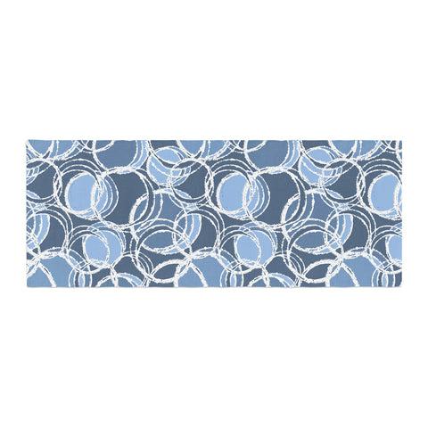 "Julia Grifol ""Simple Circles in Blue"" Bed Runner - KESS InHouse"