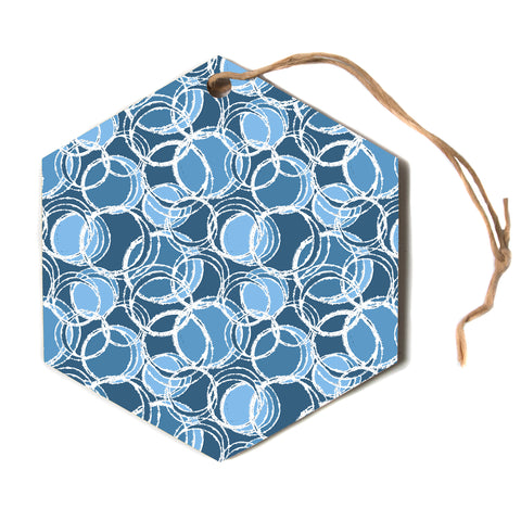 "julia grifol ""Simple Circles in Blue""  Hexagon Holiday Ornament"
