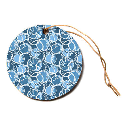 "julia grifol ""Simple Circles in Blue""  Circle Holiday Ornament"