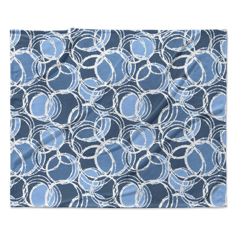 "Julia Grifol ""Simple Circles in Blue"" Fleece Throw Blanket"