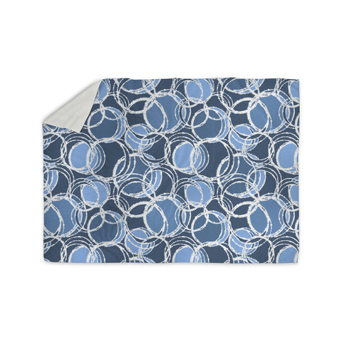 "Julia Grifol ""Simple Circles in Blue"" Sherpa Blanket - KESS InHouse  - 1"