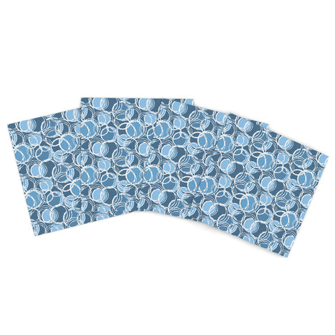 "Ebi Emporium ""Happy Tears 4"" Blue Purple Indoor/Outdoor Place Mat (Set of 4) - Outlet Item"