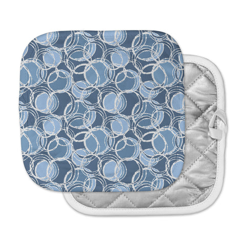 "Julia Grifol ""Simple Circles in Blue"" Pot Holder"