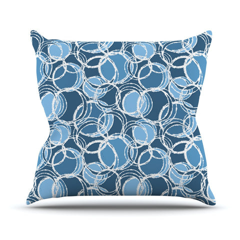 "Julia Grifol ""Simple Circles in Blue"" Outdoor Throw Pillow - KESS InHouse  - 1"
