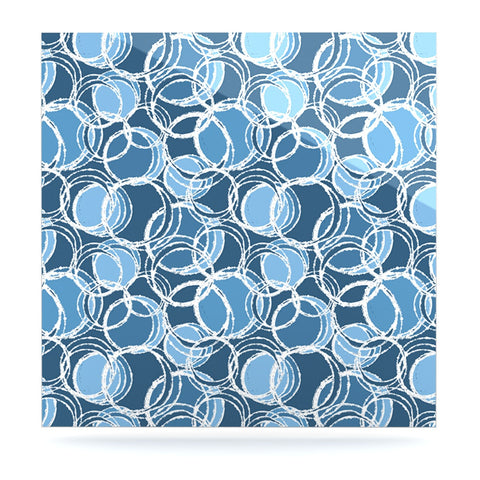 "Julia Grifol ""Simple Circles in Blue"" Luxe Square Panel - KESS InHouse  - 1"