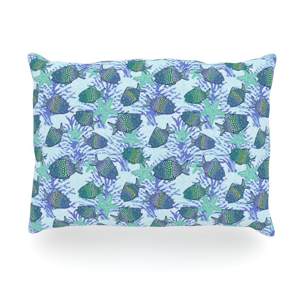 "Julia Grifol ""My Colorful Fishes"" Blue Teal Oblong Pillow - KESS InHouse"