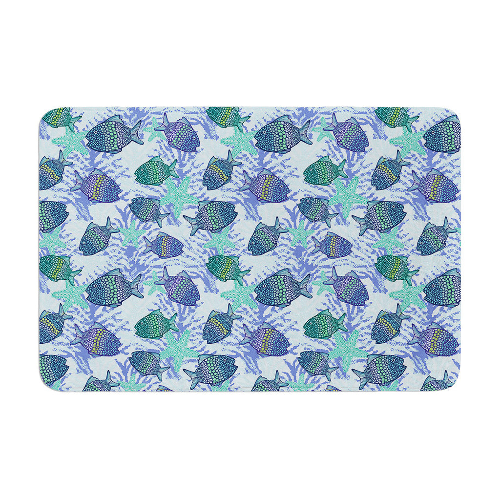 "Julia Grifol ""My Colorful Fishes"" Blue Teal Memory Foam Bath Mat - KESS InHouse"