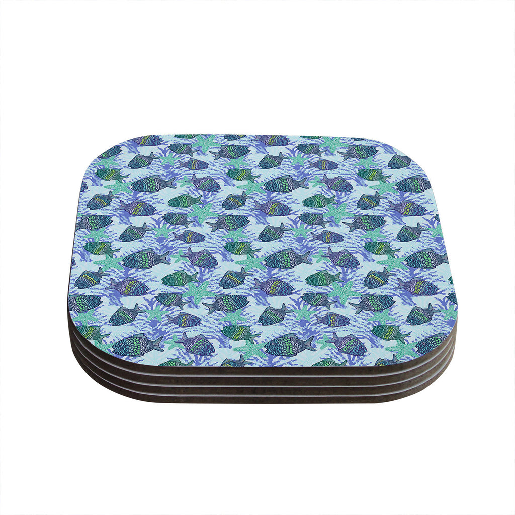 "Julia Grifol ""My Colorful Fishes"" Blue Teal Coasters (Set of 4)"