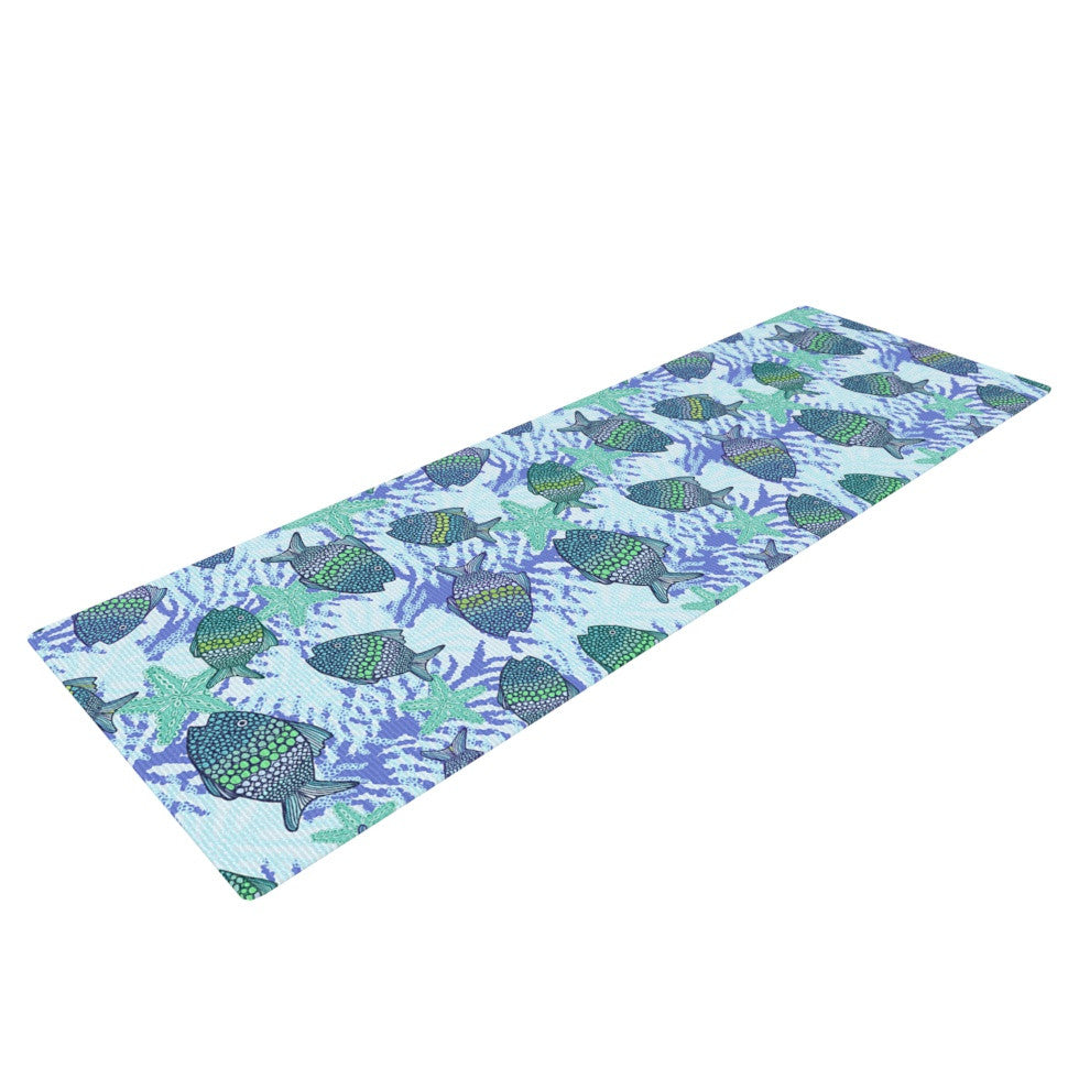 "Julia Grifol ""My Colorful Fishes"" Blue Teal Yoga Mat - KESS InHouse  - 1"