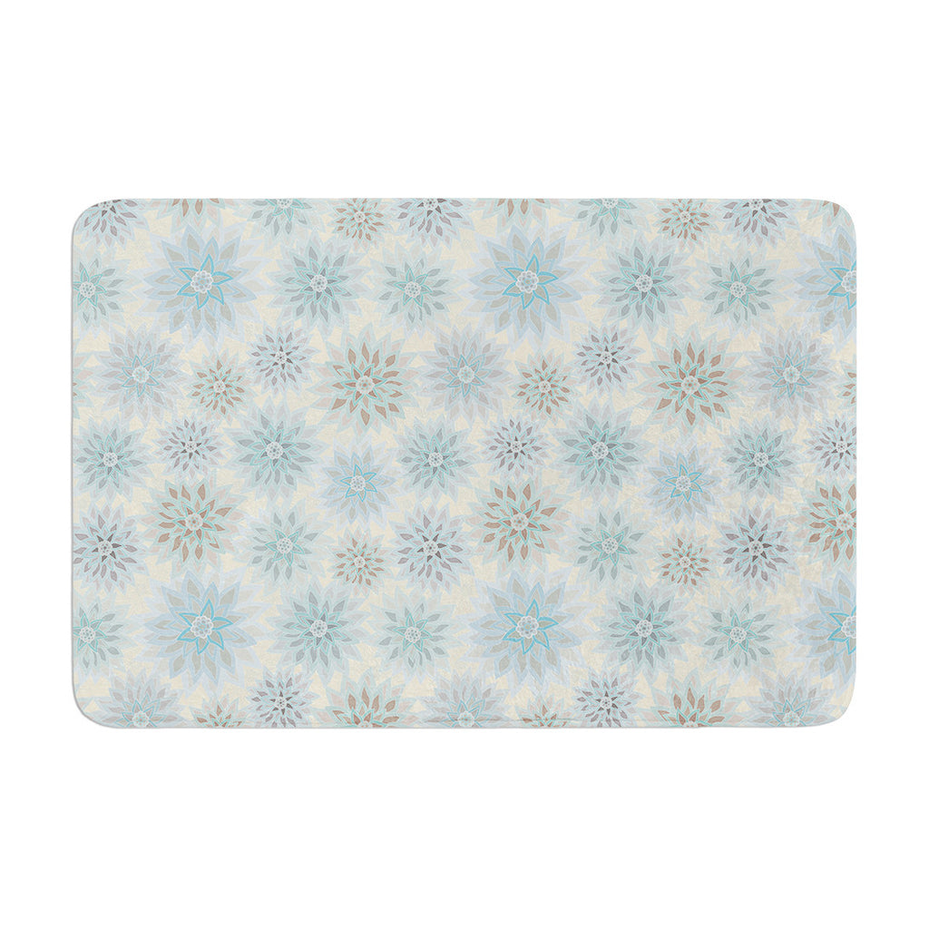 "Julia Grifol ""My Delicate Flowers"" Blue Green Memory Foam Bath Mat - KESS InHouse"