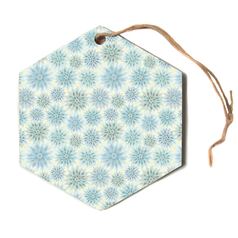 "julia grifol ""My Delicate Flowers"" Blue Green Hexagon Holiday Ornament"