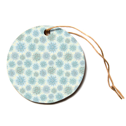 "julia grifol ""My Delicate Flowers"" Blue Green Circle Holiday Ornament"