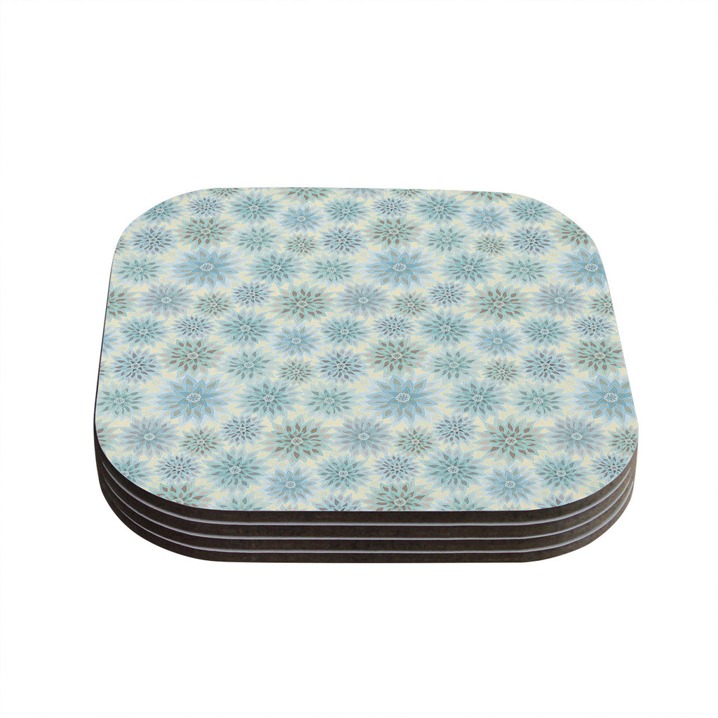 "Julia Grifol ""My Delicate Flowers"" Blue Green Coasters (Set of 4)"