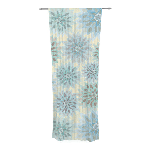 "Julia Grifol ""My Delicate Flowers"" Blue Green Decorative Sheer Curtain - KESS InHouse"
